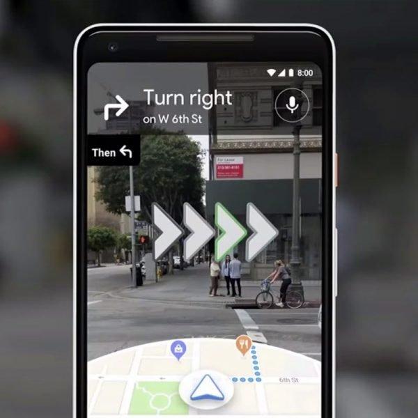Screenshot of someone using AR Googlemaps