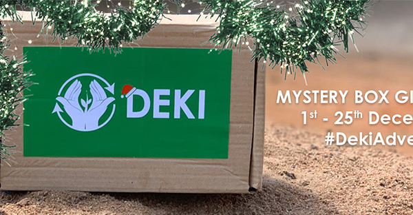 Box with the Deki logo on, detailing their christmas box giveaway