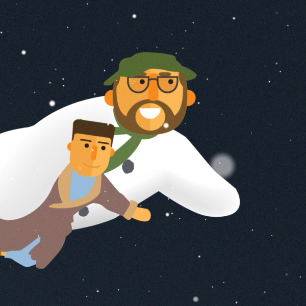 An animated snowman and a young boy float through the night sky