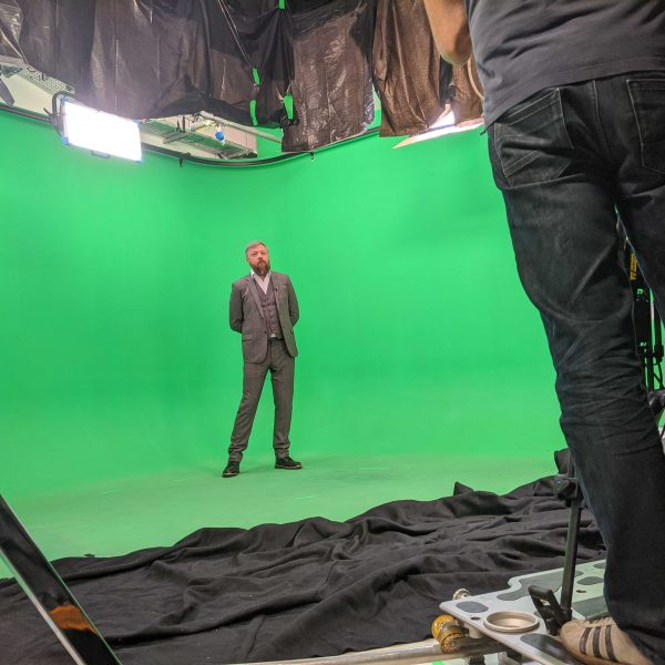 Filming in a green screen stage