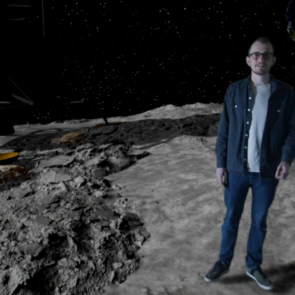 Man stood on the moon in an XR studio