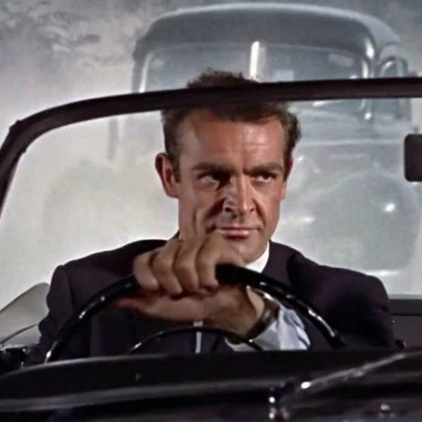 Sean Connery as James Bond appears to be driving a moving car, but thanks to rear screen projection, his car is static and a moving image is being projected onto the screen behind him to give the impression that he is driving.