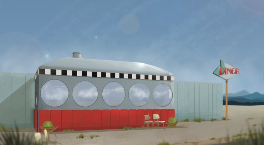 Illustration of an Airstream Diner created by Sophie, Studio Giggle's newest junior digital artist