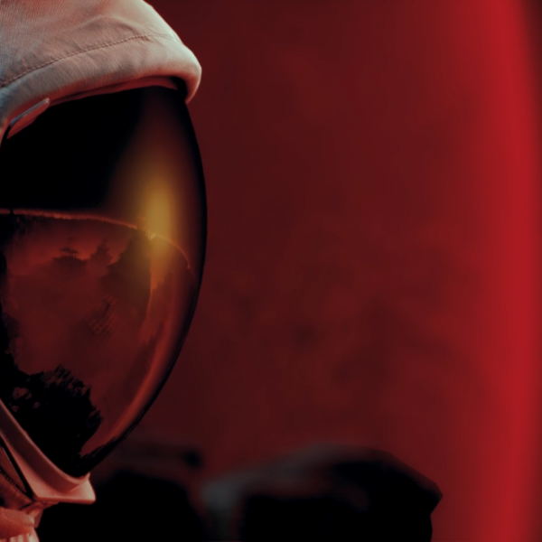 Astronaut being overlooked by Mars created in Unreal Engine