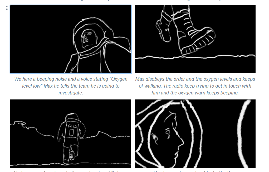 Unreal fellowship black and white storyboard